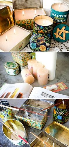 DIY - Vintage Tin Candles - Full Step-by-Step Tutorial. As a note... to obtain flat tops after cooling, place in oven for about 10 minutes at 120°F until top layer of wax is melted. Remove from oven and let cool. Voila, flat surfaces.