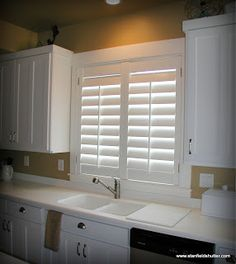 Shutters above the kitchen sink - farmhouse chic #DeltaFaucetInspired