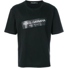 Dolce & Gabbana logo T-shirt ($274) ❤ liked on Polyvore featuring men's fashion, men's clothing, men's shirts, men's t-shirts, black, dolce gabbana mens shirts, mens cotton t shirts, men's cotton short sleeve shirts, mens slogan t shirts and mens logo t shirts