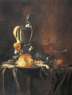 *LUTTICHUYS, SIMON Description: LUTTICHUYS, SIMON  (London 1610 - 1661 Amsterdam), Circle of  Still life with pewter jug, rummer, bread roll and pipe on a plate, with cards and pipe on a draped table cloth.  Oil on panel. 66.5 x 90.5 cm.