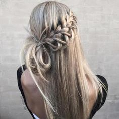 waterfall braid | half up half down | with hair extensions | long hairstyles | knot | twist | blondes