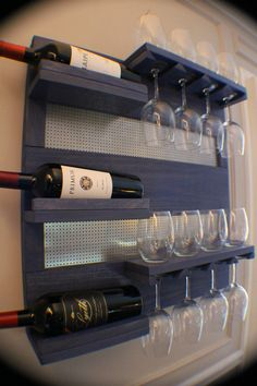 Perfect Periwinkle Stained Wall Mounted Wine Rack with Shelves and Decorative Chrome Mesh, Wine and Liquor Shelf and Cabinet https://www.etsy.com/listing/185740774/perfect-periwinkle-stained-wall-mounted?ref=br_feed_30&br_feed_tlp=home-garden
