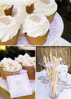 elephant party decor and cupcakes