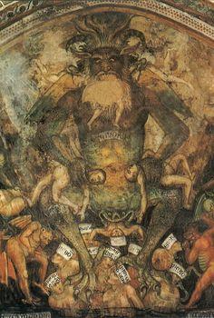 Taddeo di Bartolo, Giudizio Universale - Inferno, Lucifero (The Last Judgment - Hell, Lucifer detail), circa 1391-93. San Gimignano, Italy. It was originally sited in the Collegiata di Santa Maria...