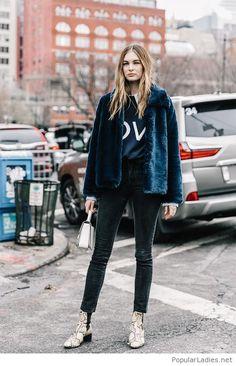Black pants, blouse and blue fur