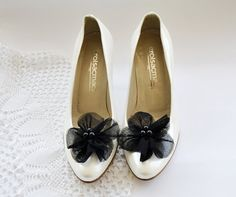 Black Fabric Flower Shoe Clips by BizimFlowers on Etsy