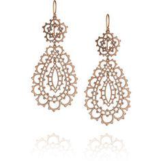 Laurent Gandini Filigrana 9-karat rose gold lace earrings