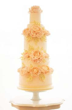Rosalind Miller Cakes - Orange Sherbet colored wedding cake