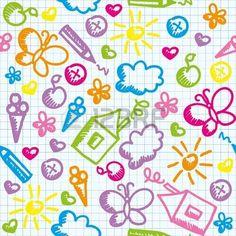 patrón transparente niño lindo en página de papel