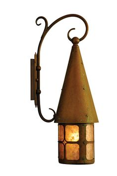 "With period details like a Caramel glass shade and antique penny finish, plus creative touches like a conical cap and scrolled-arm bracket, ""Old California's"" Brinley lantern imparts a welcoming glow."
