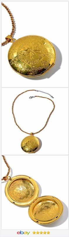 "50% OFF #ebay http://stores.ebay.com/JEWELRY-AND-GIFTS-BY-ALICE-AND-ANN Gold Tone Locket Necklace 18"" long USA Seller VALENTINES DAY"