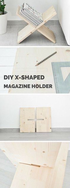 Wood Profits - Check out the tutorial: #DIY X-Shaped Magazine Holder #crafts #homedecor Discover How You Can Start A Woodworking Business From Home Easily in 7 Days With NO Capital Needed!