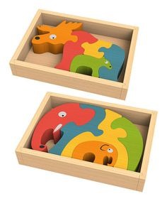 Take a look at this Elephant Family Puzzle & Moose Family Puzzle Set by BeginAgain on #zulily today! $19 !!