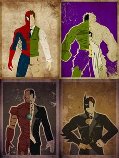 Spiderman-Peter Parker// Hulk-Dr. Robert Bruce Banner// IronMan- Tony Stark// Batman- Bruce Wayne...... Love these people!