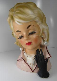 Vintage Blonde Lady Head Vase Pearl Earrings Pink Shirt Black Glove Signed Rare.  via Etsy.