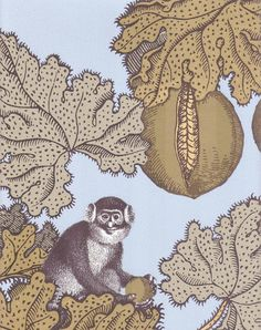 Frutto Proibito Wallpaper A Fornasetti wallpaper depicting monkeys hiding in a pomegranate tree, in golds outlined in black on a light blue background