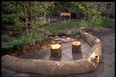 let the children play: add stones, logs, stumps and mounds to playgrounds. Backyard Swings, Backyard Playground, Playground Ideas, Playground Design, Outdoor Learning Spaces, Outdoor Education, Outdoor Spaces, Outdoor School, Outdoor Classroom