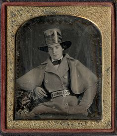 1/6 plate daguerreotype of a young fireman from Columbia in full dress uniform, circa 1850-1860.
