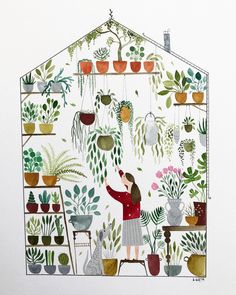 Kristina Kemenikova is a self taught illustrator based in Slovakia. Using both digital techniques and traditional methods, her work very o. Plant Illustration, Pencil Illustration, House Plants Decor, Art Corner, Plant Drawing, Plant Art, Floral Illustrations, Botanical Prints, Watercolor Art