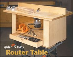 Woodworking Jigs Quick and Easy Router Table - If you're looking for ideas to build a router table, read this page. We've collected 39 of the best DIY router table plans, videos, and PDFs. Router Diy, Build A Router Table, Router Woodworking, Woodworking Furniture, Woodworking Shop, Woodworking Machinery, Woodworking Jigsaw, Woodworking Equipment, Dremel Router Table