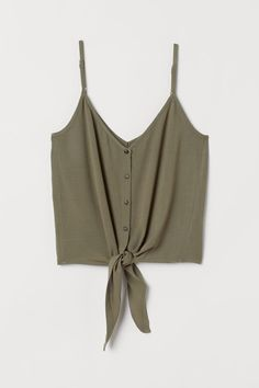 V-neck camisole top in airy, woven viscose fabric with decorative buttons at front and narrow, adjustable shoulder straps. Cute Casual Outfits, Outfits For Teens, Summer Outfits, Teen Fashion, Fashion Outfits, Calf Length Skirts, Cute Crop Tops, Khaki Green, Cute Shirts
