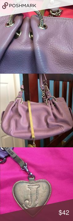 "Juicy Couture Lilac Handbag-Designer Collection Juicy Couture Lilac Handbag-Designer Collection   Purchased from Neiman Marcus  Slight imperfections/see pics: initial ""j"" gold is rubbed off, screw to handle needs to be glued/fixed, a few scratches/color rubbed off slightly   No trades Juicy Couture Bags Totes"