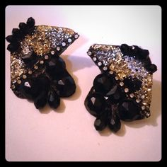"""2.25"""" Vintage Black/Glitter Clip-on Earrings Debra Bery signed earrings; 2/18/86 design date; black acrylic pieces with gold/silver glitter and rhinestones; piece 4218 in her collection; very good vintage condition/mounted on a metal backing; fun earrings Jewelry Earrings"""
