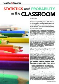 Australian Curriculum Mathematics. Statistics and probability article by Clare Way. Includes ACARA links.