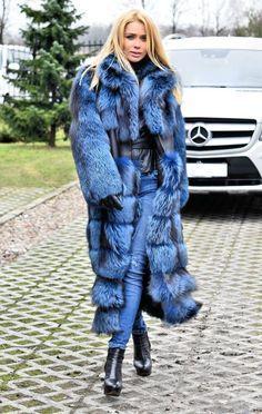 NEW 2016 BLUE SILVER SAGA FOX LONG FUR COAT CLASS- CHINCHILLA SABLE JACKET MINK in Clothing, Shoes & Accessories, Women's Clothing, Coats & Jackets | eBay