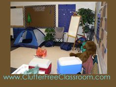 What a great reading nook for a classroom! The sleepings bags were unrolled and the kids could sit on them to read.