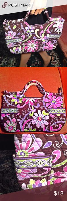 """Handbags, Vera Bradley, Designer Handbags Floral Quilted Gabby Design Rolled Handles Top Zip Closure 14"""" L x 9"""" H x 5"""" W Cotton Inside: 1 Zipper Pocket, 6.5"""" L x 3.5"""" H Inside: 3 inside slip pockets Outside: 2 side pockets 2 Top Handles 9"""" Roomy Tie Details at end of handle  Orders ship within 1 Business Day excluding weekends. Add multiple items to a bundle to get 15% off, plus you'll save on shipping. Thanks For Shopping with Dress To Impress Thrift & Boutique.  Have A Great Day Vera…"""