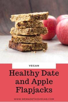 These healthy date and apple flapjacks are refined sugar free and full of filling goodness from the oats so they are the perfect between meal snack. Gluten Free Vegan Recipes Dinner, Egg Free Recipes, Best Vegan Recipes, Healthy Crockpot Recipes, Amazing Recipes, Diabetic Recipes, Brunch Recipes, Real Food Recipes, Snack Recipes