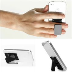 The Fly Grip helps you get a hold on your smartphone. It doubles as a vertical and horizontal stand!