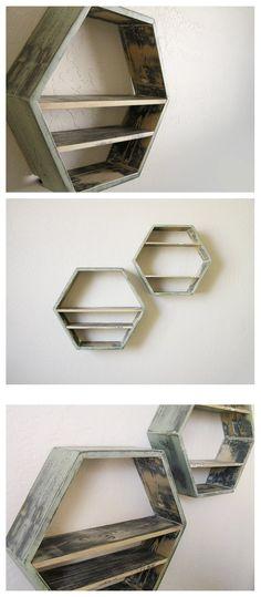 hexagon shelves for dining room