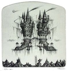 Floating city drawings by Sergey Tyukanov #drawing #illustration #city