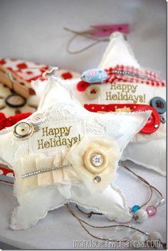 Kerstster van stof, lint en knoopjes