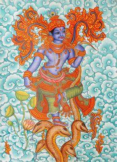 Kaliya Vijaya Leela of Shri Krishna kerala mural