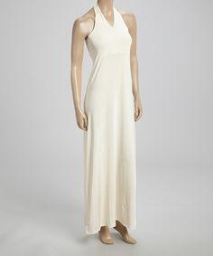 Look at this Off-White Shirred Halter Maxi Dress on #zulily today!