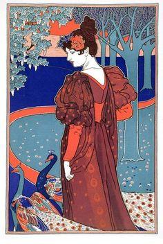Louis John Rhead , La femme au paon, 1898.