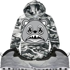 1cad2e37383821 Baws Hoodie SHADOW BAWS Winter Stealth Camo Hoodie -Jordan 10 Light Smoke  Grey Trendy Mens