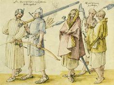 Gallowglass (2 left), Irish heavy infantry, commonly made up of Scottish mercenaries. Kerns (3 right), native Irish light infantry. Drawing by Albrecht Durer.