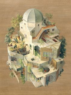 Cinta Vidal Agullo's Surreal Paintings Of Maze-Like Everyday Scenes. posted on Beautiful Decay