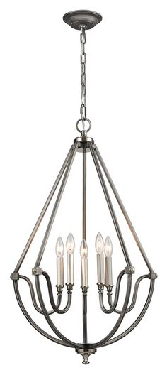 Stanton Chandelier in Weathered Zinc Finish, Brushed Nickel
