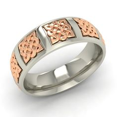 Celtic Design Two Tone Mens Wedding Ring Anniversary Band 925 Sterling Silver #Gemsea #Band