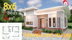 House Design 7x10 with 3 Bedrooms Terrace Roof - House Plans 3D