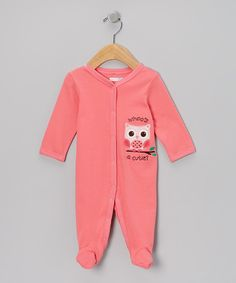 Look what I found on #zulily! Pink 'Whoo's a Cutie' Footie - Infant by Vitamins Baby #zulilyfinds