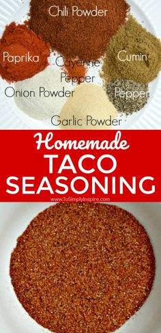 Making homemade taco seasoning is so easy and so much healthier. Making homemade taco seasoning is so easy and so much healthier too. Mix it up with spices that you probably have already in your house. Make Taco Seasoning, Taco Seasoning Packet, Seasoning Mixes, Homemade Spices, Homemade Seasonings, Taco Mix, Do It Yourself Food, Homemade Tacos, Dressings