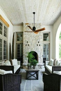Modern French country back porch