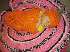 Newborn Swaddling Cocoon Carrot by DarleneMoon on Etsy, $28.00