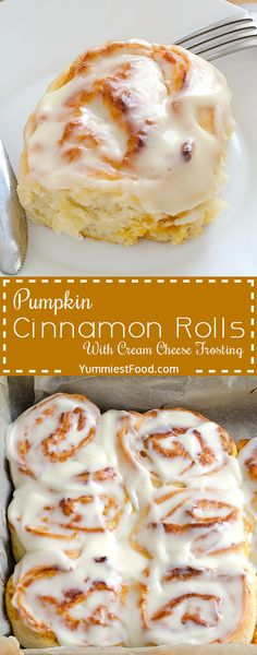 Pumpkin Cinnamon Rolls - super soft, moist, fluffy and delicious! Quick and easy dessert for perfect fall enjoyment!